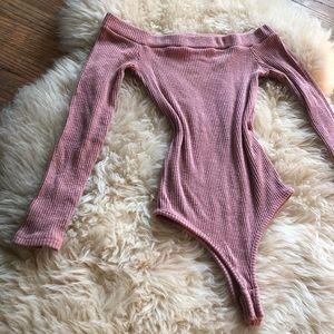 Dusty Rose Ribbed Bodysuit